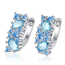 European and American Temperament Blue Zirconium Earrings Female Simple Literary Earrings Blue Ear Jewelry XzEH593