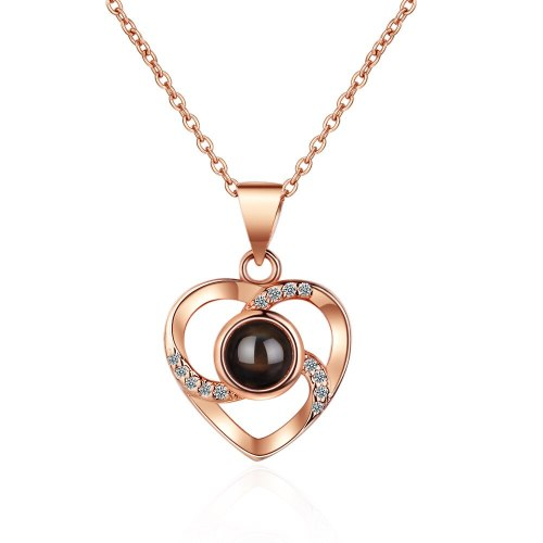 Korean Version of Love-shaped Necklace Female I Love You Collarbone Pendant Wholesale XzDZ536