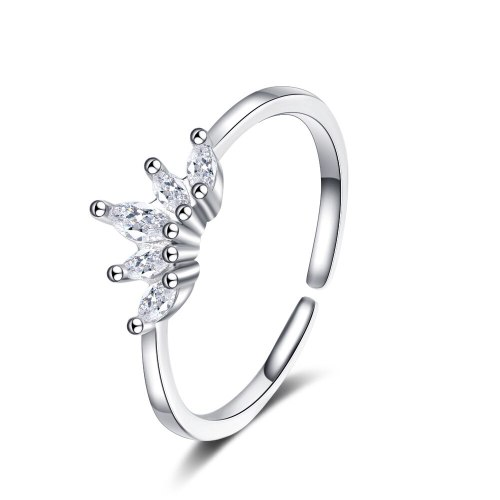 Ring Female Crown Opening Adjustable Ins Tide Inlaid Zirconium Personality Ring XzJZ345