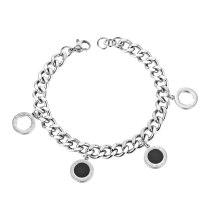 Fashion Retro Roman Digital Round Bracelet Shell Pendant Titanium Steel Bracelet Gb1131