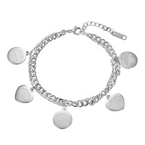 Personality Geometry Round Double Bracelet Niche Simple Ins Titanium Steel Peach Heart Pendant Send Honey Gb1133