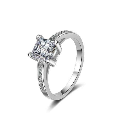 European and American Simple Four Claw Square Diamond Inlaid Zircon Princess Ring Hand Jewelry Xzq009