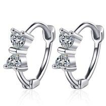 Ear Clasp Women's Korean Version Small Fresh Zirconium Inlaid Bowknot Ear Clasp Sweet Stud Earring Jewelry Xzh588