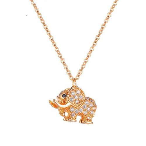 Ins Girl Elephant Pendant Versatile Titanium Steel Plated Rose Gold Sweater Chain Necklace Gb1867
