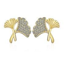 Gingko Leaf Stud Earrings New Fashion for Women Earrings Jewelry XzED901