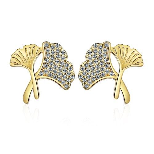 Gingko Leaf Stud Earrings New Fashion for Women Earrings Jewelry XzED901