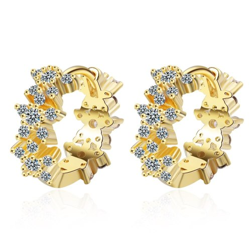 Korean Simple Versatile 3D Zirconium Inlaid Lovely Plum Blossom Earrings Flower Earrings Ear Buckle Earrings Female Xzh592