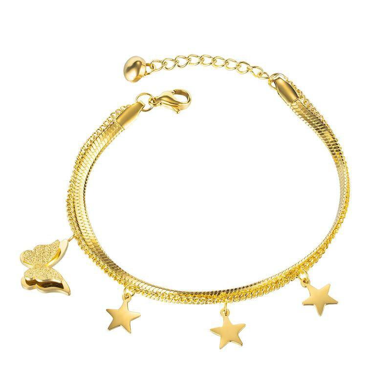 Korean3D Butterfly Decorative Bracelet Mori Girls Five Pointed Star Stainless Steel Double Layer Bracelet Gb1129