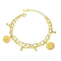 Korean Personality and Fashion Stitching Double-layer Round Bead Bracelet Titanium Steel Bracelet Gb1134