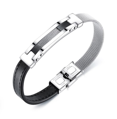 European and American Retro Trend Titanium Steel Men's Leather Bracelet Fashion Joker Stainless Steel Mesh Belt Bracelet GB1382