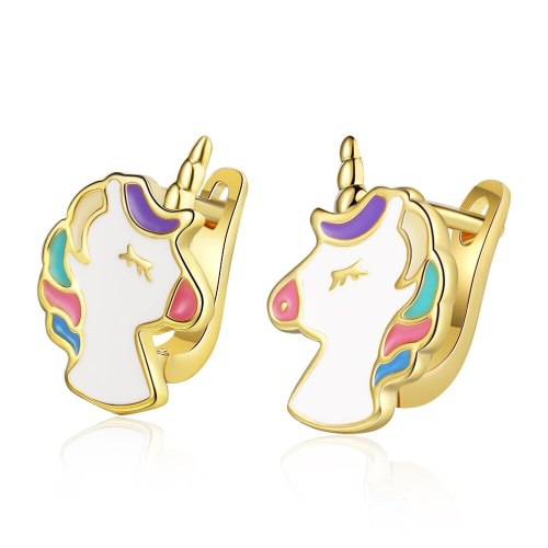 European and American Unicorn Earrings Temperament Female Ear Buckle Gutta Percha Fashion Personality Earrings Xzeh584