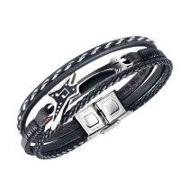 Retro Creative Musical Instrument Saxophone Bracelet Multilayer Woven Men's Stainless Steel Leather Bracelet Gb1432