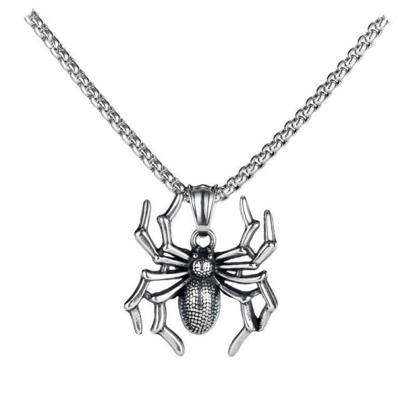 European Titanium Spider Pendant Punk Personality Insect Necklace Male Gb1832