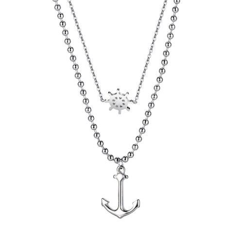 European Personality Design Small Snowflake Necklace Retro Anchor Titanium Steel Pendant Double-layer Sweater Chain Gb1861