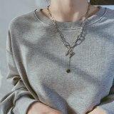 Korean Style Tassel Round Pendant Retro Design Letter H Titanium Steel Necklace Autumn Winter Sweater Chain Gb1860