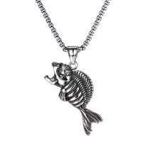 European and American Trend Retro Skull Pendant Street Creative Versatile Stainless Steel Fishbone Necklace Gb1838