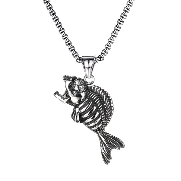 European and American Trend Retro Skull Pendant Street Creative Versatile Stainless Steel Fishbone Necklace Gb1838