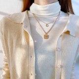 European Retro Double-layer Slim Thick Sweater Chain Fashion Square Confession English Joker Clavicle Chain Pendant Gb1864