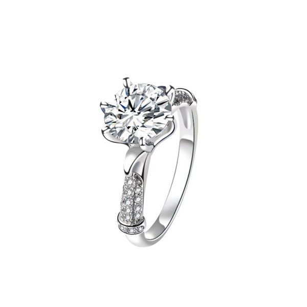 S925 Sterling Silver Hand Decorated Mosangshi Ring Classic Female Ring Proposal Wedding Ring Gift for Girlfriend Mlk929