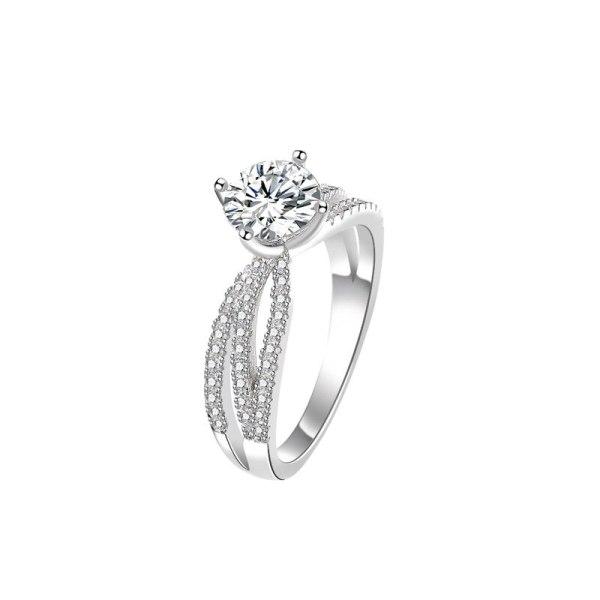 S925 Sterling Silver Bracelet Moissan Diamond Ring Female Classic Simple Temperament Ring Ring MlK927