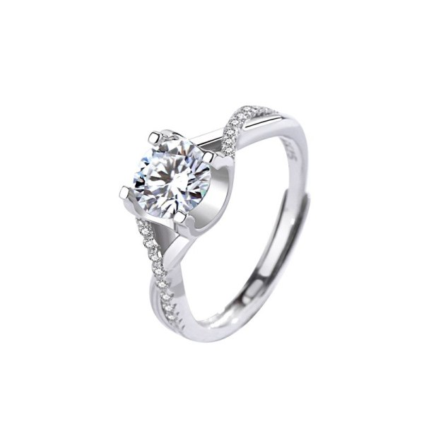 S925 Sterling Silver Moissanite Ring Classic Temperament Exquisite Four-claw Engagement Diamond Ring MlK944