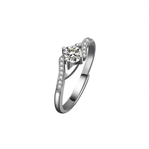 Moissan Diamond Ring 925 Sterling Silver Engagement Site Temperament Simple Adjustment Ladies Single Ring MlK660