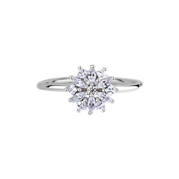 S925 Sterling Silver Fashionable and Versatile Snowflake Ring Japan and Korea Small Fresh Micro Set Zircon Flower Ring Mlk876