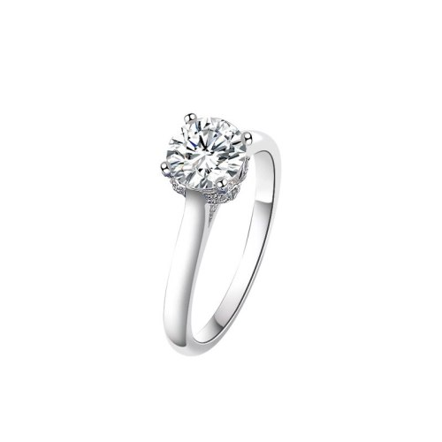 S925 Sterling Silver Mosang Stone Ring Women's Classic Simple and Exquisite Mosang Diamond Ring Mlk928