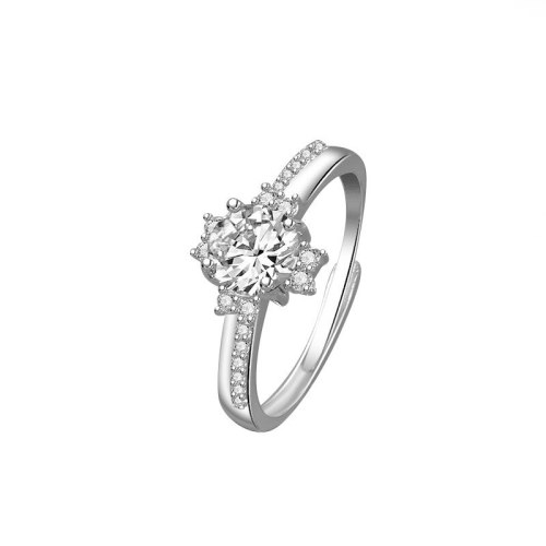 Diamond Ring Female Inlaid 925 Sterling Silver New Korean Version Design Fashionable Suitable for Wedding Single Ring MlK669