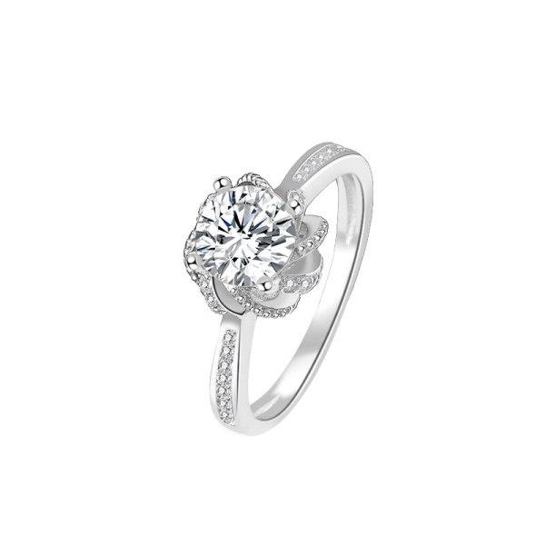 S925 Pure Silver Exquisite Korean Zircon Ring Women's Fashion Mosangshi Diamond Ring Mlk921