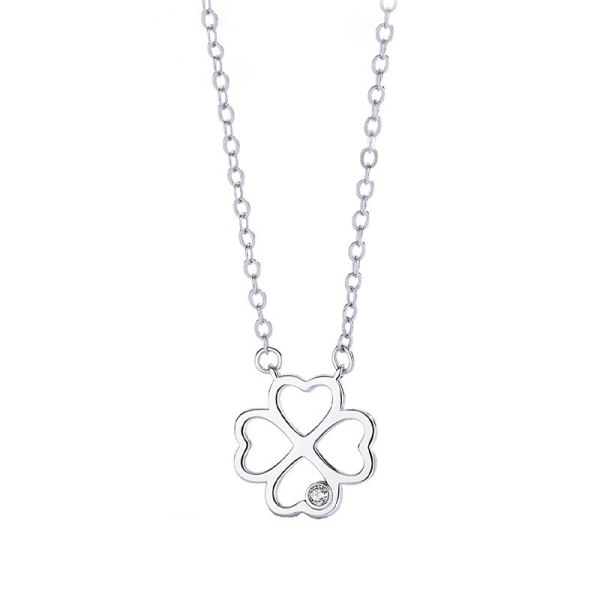 Hot Sale S925 Sterling Silver Jewelry Hollow Four-leaf Clover Necklace Female Clavicle Chain New Product Accessories MlA1947