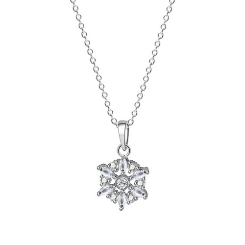 S925 Sterling Silver Jewelry White Diamond Snowflake Necklace Femininity Pendant Clavicle Chain Christmas Gift Mla2156