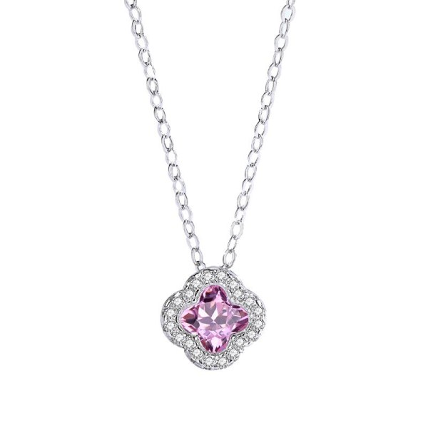 The New Four-leaf Flower Pink Zircon Pendant S925 Sterling Silver Clavicle Chain Female Fashion Korean Necklace MlA2159