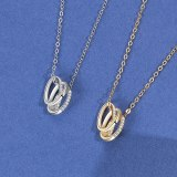 S925 Sterling Silver Necklace Women's Three Rings Small Fragrance Diamond Pendants Trendy Clavicle Chain Pendants MlA2016