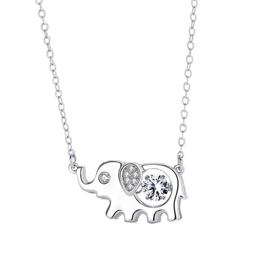 New Creative Baby Elephant Necklace S925 Sterling Silver Clavicle Chain Animal Necklace Zircon Pendant MlA2146