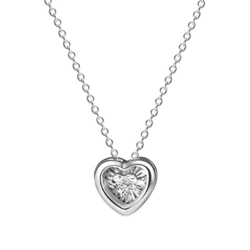 S925 Sterling Silver Zircon Necklace Female Heart-shaped Short Clavicle Chain Korean Simple Temperament Love Pendant MlA2173