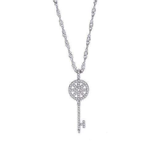 S925 Sterling Silver Temperament Classic Key Necklace Female All-match Diamond Flower Pendant Wholesale MlF1669