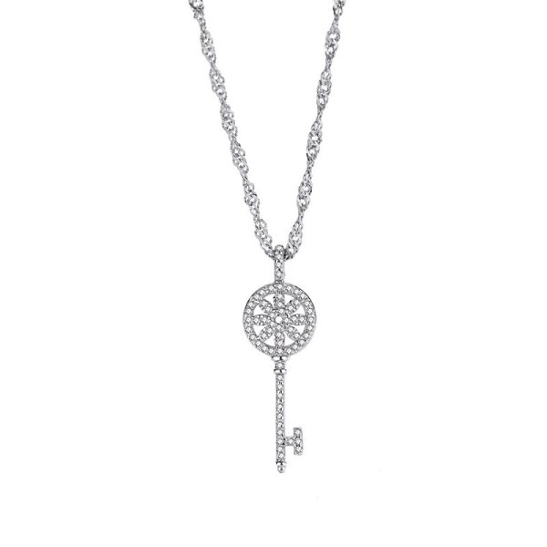 S925 Sterling Silver Temperament Classic Key Necklace Female All-match Diamond Flower Pendant Wholesale MlF1669