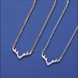 S925 Silver Elk Necklace Female Antler Clavicle Chain Diamond Pendant Mla1949
