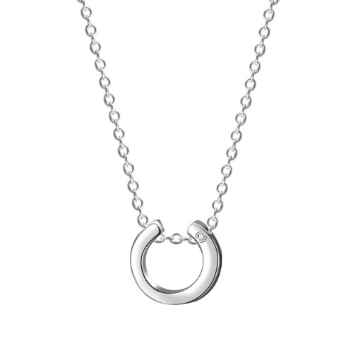 S925 Sterling Silver Necklace Female Geometric Circular Hollow Pendant Korean Exquisite DIA Clavicle Chain Pendant MlA1958