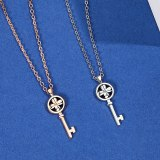 Korean S925 Sterling Silver Key Necklace Female Temperament Four-leaf Flower Clavicle Chain Pendant MlA1948