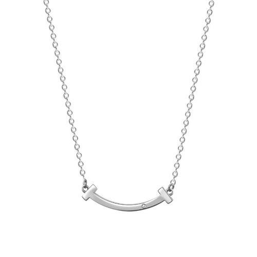 S925 Sterling Silver Smile Necklace Female Korean Version Diamond Clavicle Chain Classic Diamond Pendant MlA1956