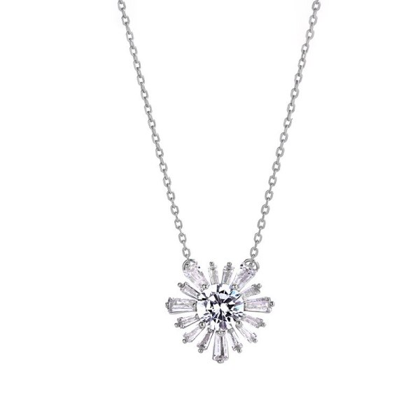 S925 Sterling Silver Korean Zircon Snowflake Necklace with Diamond for Women's Exquisite Clavicle Chain Pendant Mla2157