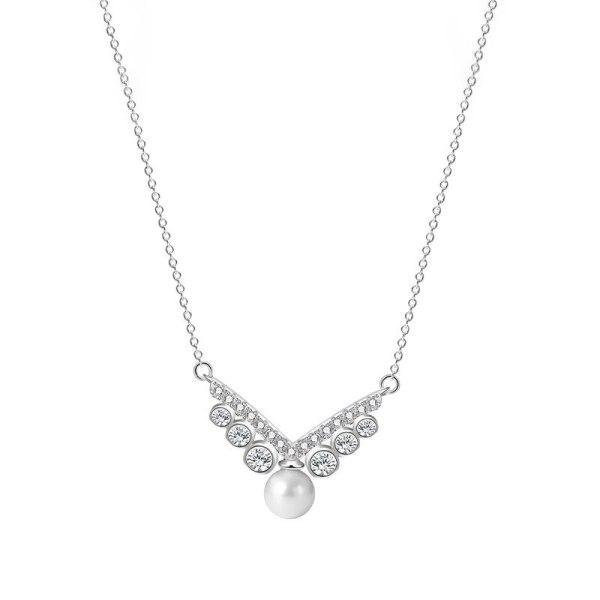 S925 Pure Silver Jewelry Letter V Bead Necklace Simple Set Zircon Collarchain Female Pendant Mra2160