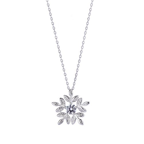 S925 Sterling Silver Jewelry Micro Inlaid Zircon Necklace Female Mori Flower Clavicle Chain Pendant MlA2147