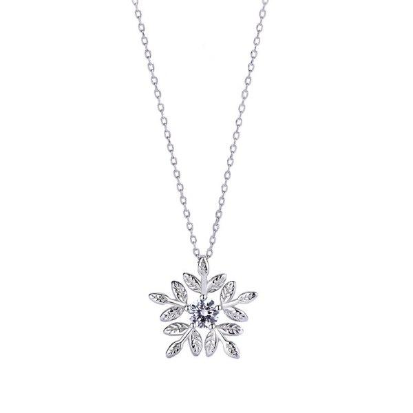 S925 Sterling Silver Jewelry Micro Inlaid Zircon Necklace Female Mori Flower Clavicle Chain Pendant MlA2147