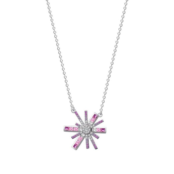 S925 Silver Necklace Female Korean Sweet Diamond-encrusted Star Man Short Collarbone Chain Irregular Flower Ornament MlA2149