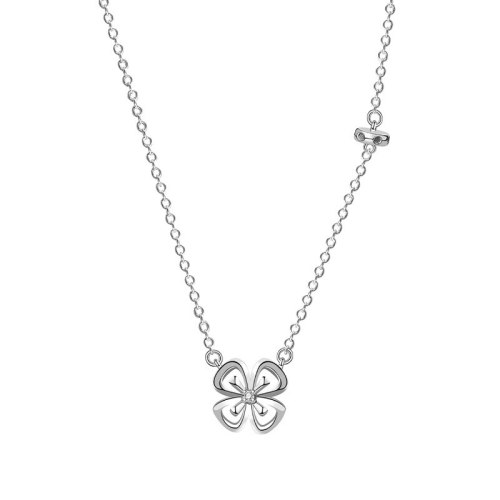 Japanese and Korean S925 Silver Micro Inlaid Flower Necklace Diamond Pendant Fashion Simple Clavicle Chain Mla1954