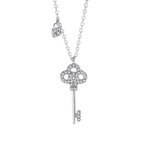 S925 Sterling Silver Jewelry Temperament Key Necklace Women's Korean Version Simple Pendant Key Lock Mla1892