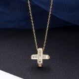 S925 Sterling Silver Cross Pendant Female Necklace with Zircon Clavicle Chain Korean Temperament Accessories MlA2154